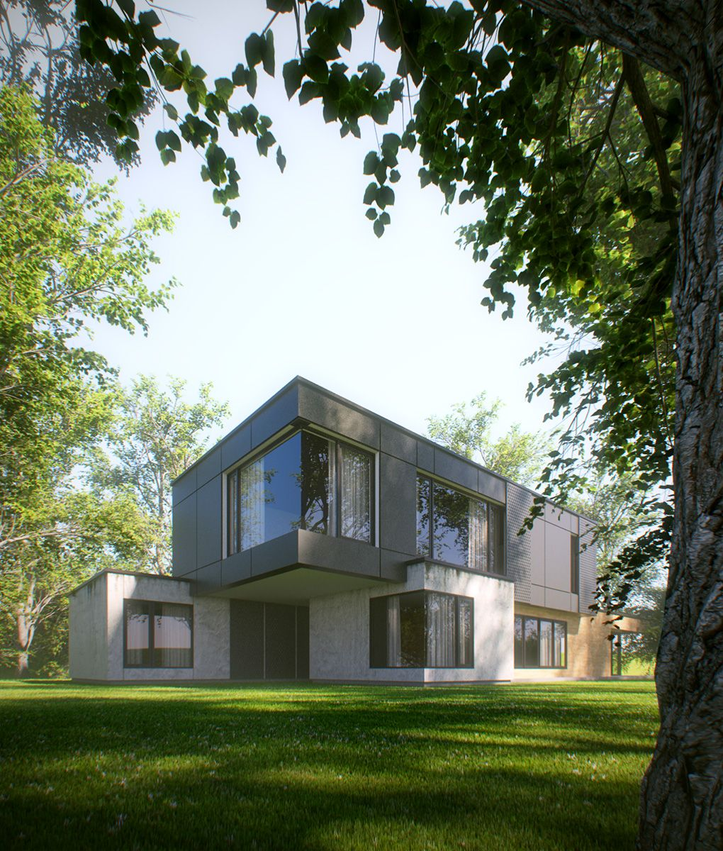 House in the forest creating photo realistic image with 3ds max and vray