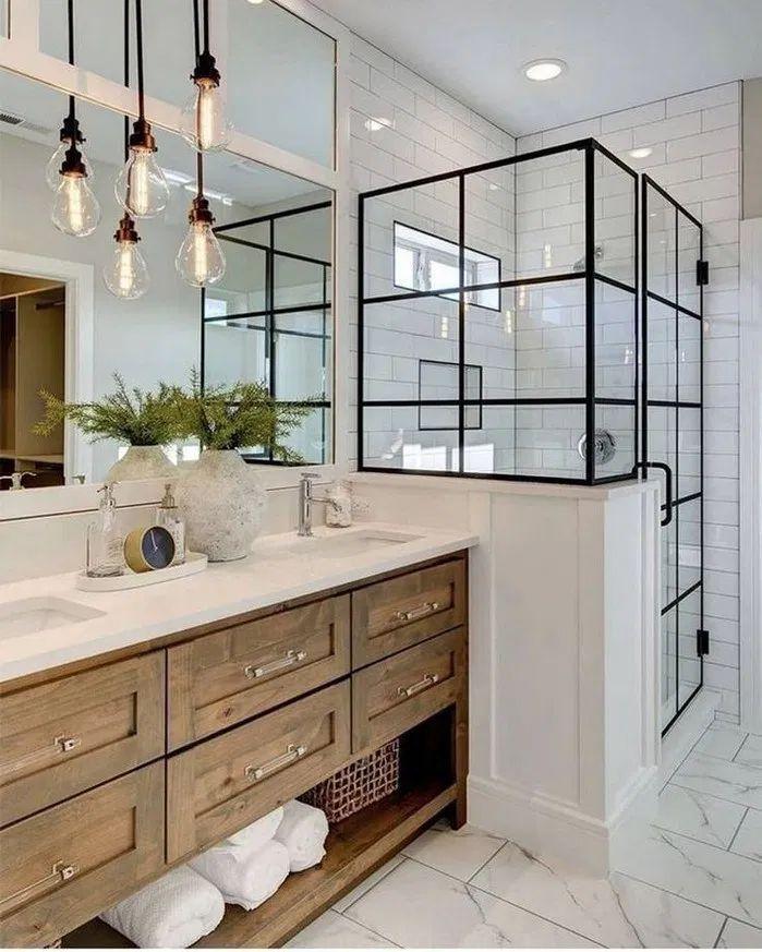 Más de 148 ideas modernas de decoración de baño de granja ...
