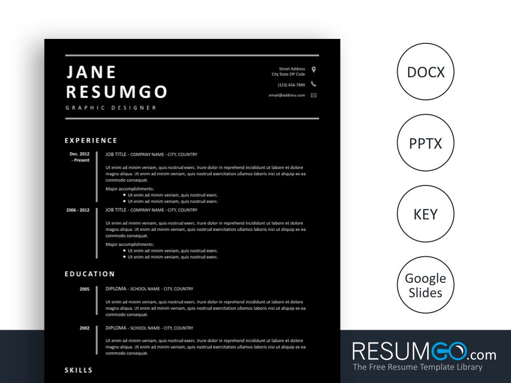 Diona Black Resume Template By Resumgo Resume Template Resume Modern Resume Template