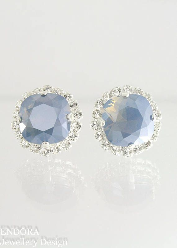Steel blue bridal earrings blue wedding jewelry dusty blue