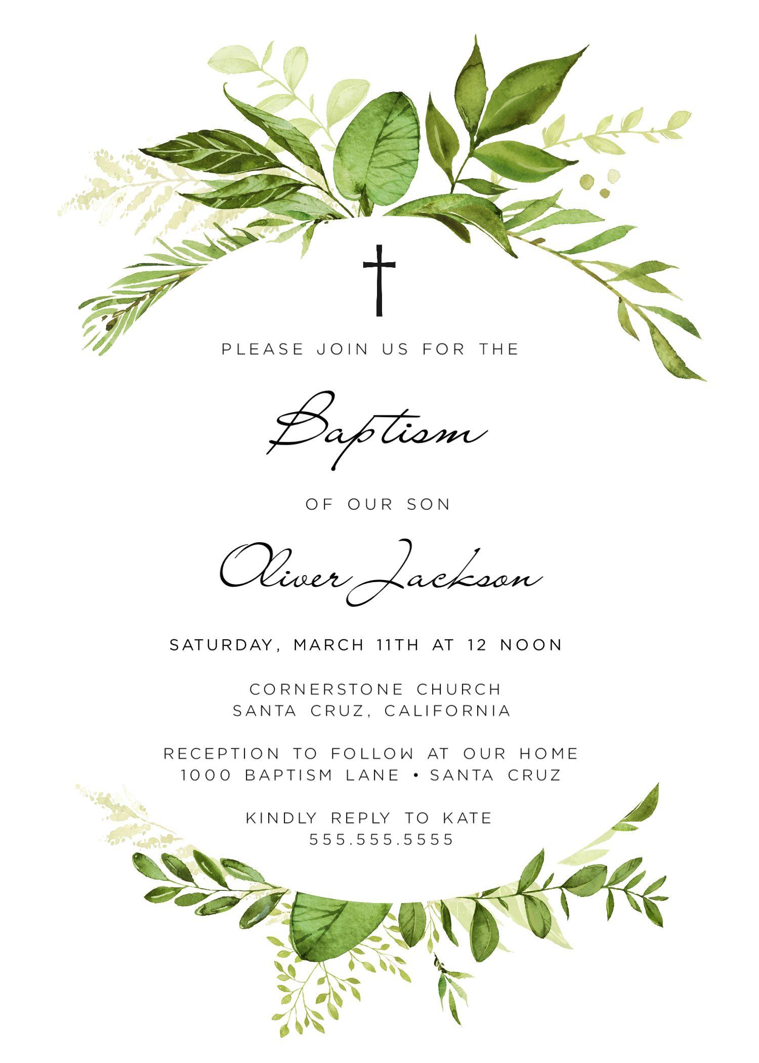 boy baptism invitation  gender neutral  girl  printable