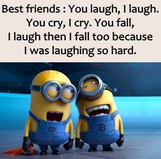 Best Friends U0026 Laughter Funny Cute Cartoon Animated Best Friends Laugh  Minions Clever Minion Quotes