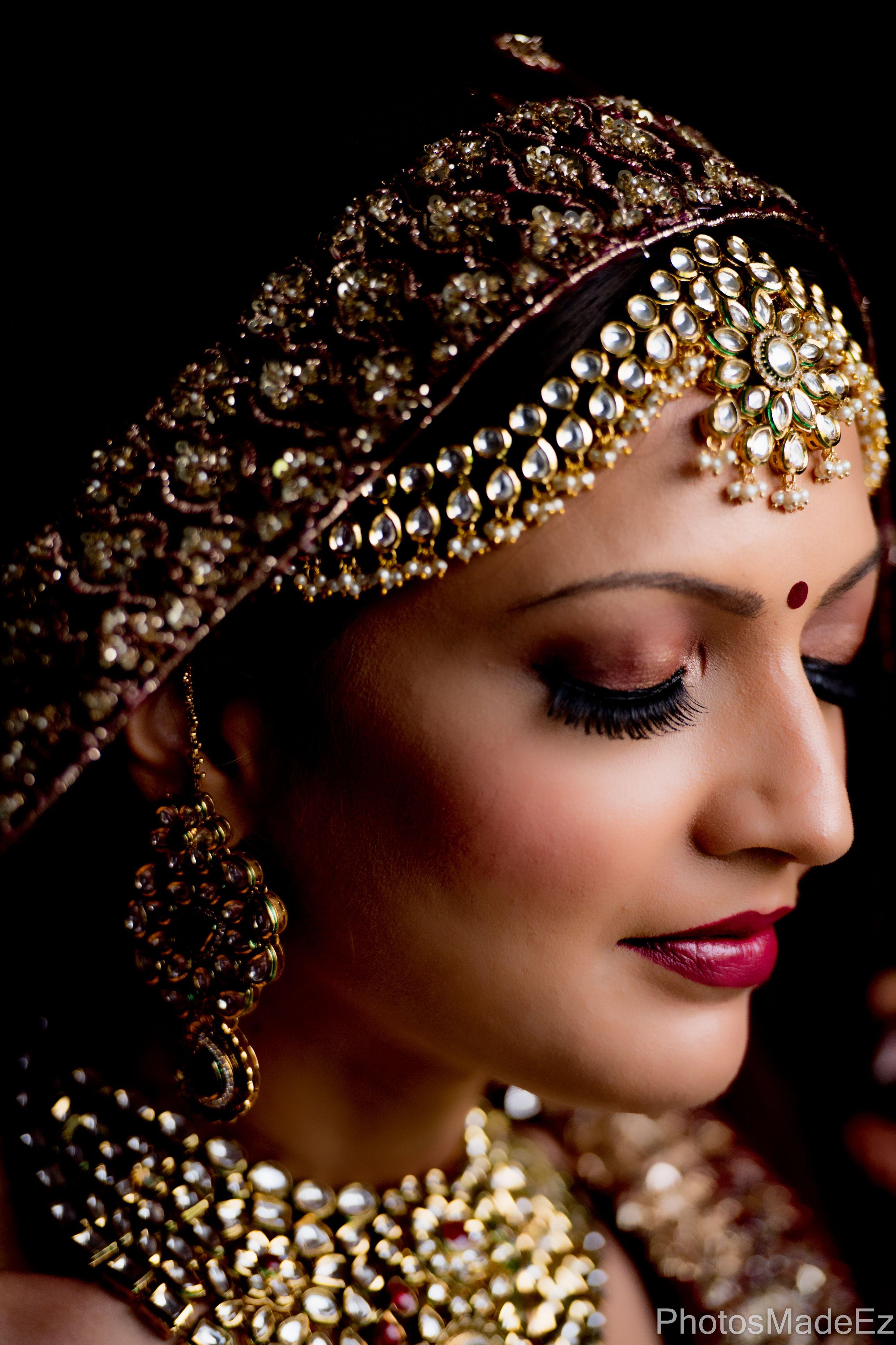 "Swara and Deep""s Wedding at Rose Garden. Gujarati Bride's Portrait Along with Makeup Artist Anita Shah. Bridal Portrait. Bride getting ready."