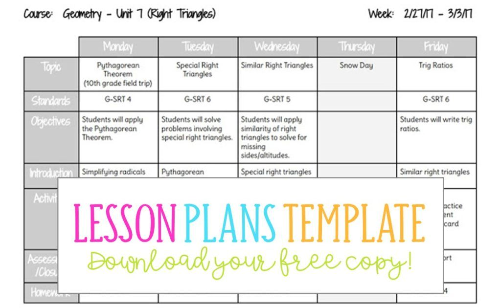 Lesson Plans Template Lesson Plans Template High School Weekly