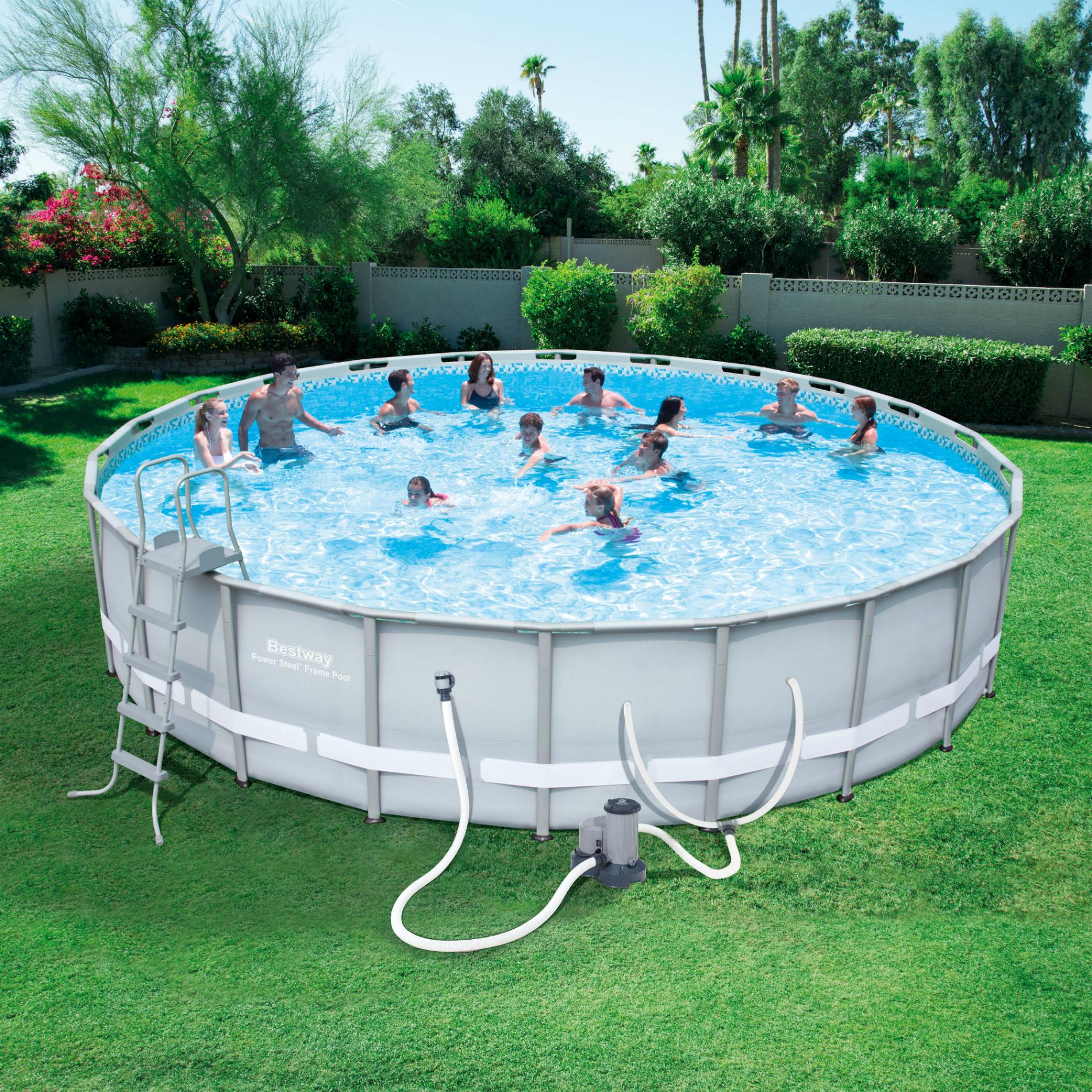 Bestway 22 X 52 Round Power Steela Frame Pool Set Best Above Ground Pool Swimming Pool Accessories Coleman Pool