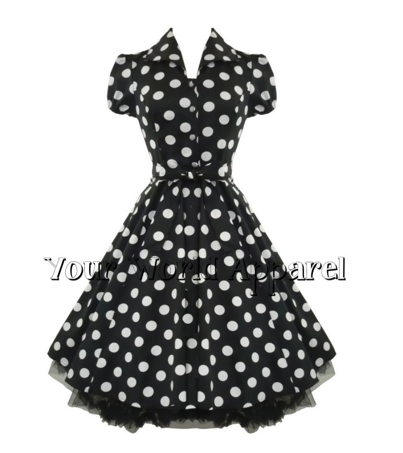 71e0723f11 H R London Black Big White Polka Dot Pinup Swing 1950's Housewife Dress  Vintage | eBay