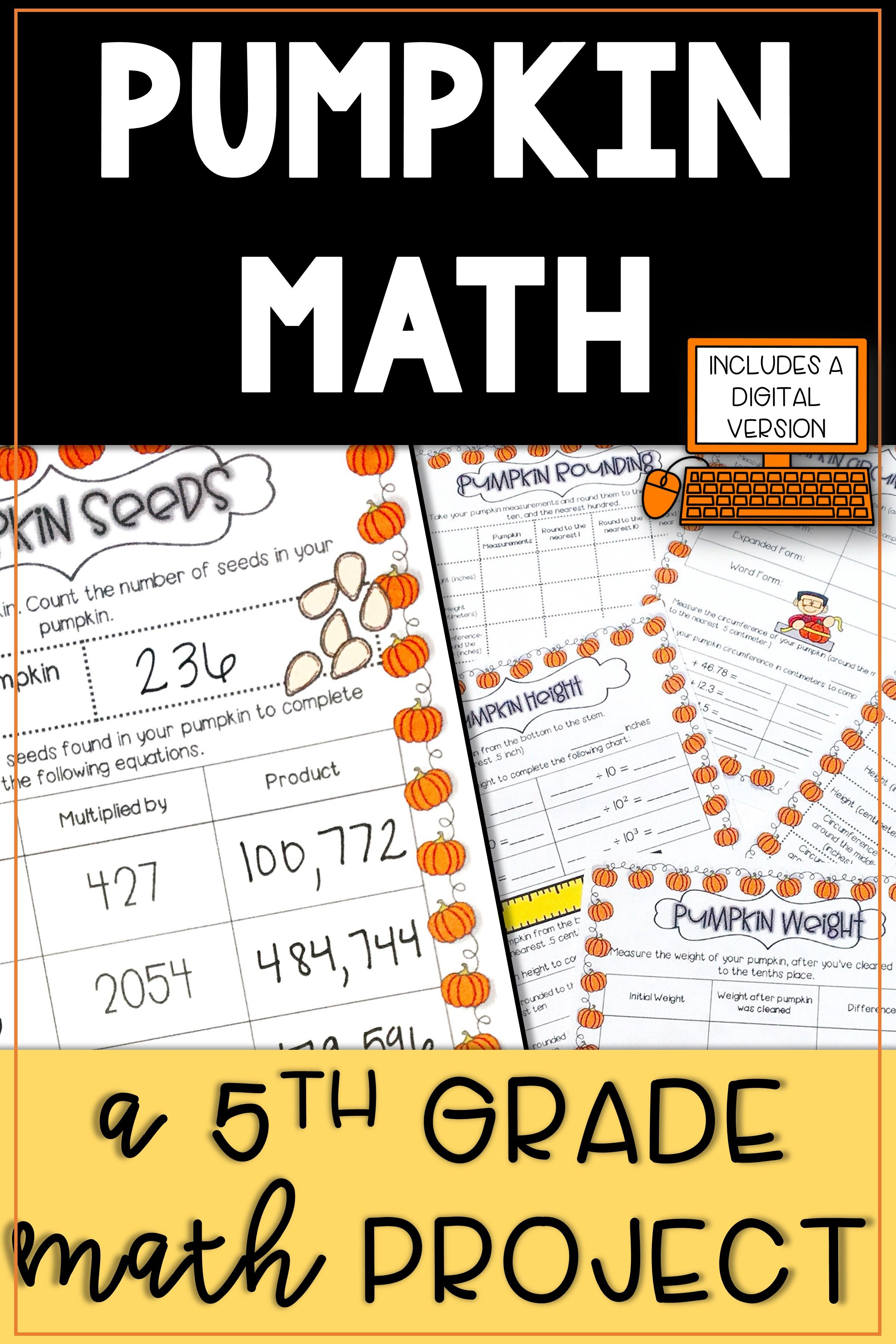 Pumpkin Math Activities Place Value Activities 5th Grade 4th Grade Math Worksheets 2nd Grade Math Worksheets First Grade Math Worksheets [ 3600 x 2400 Pixel ]
