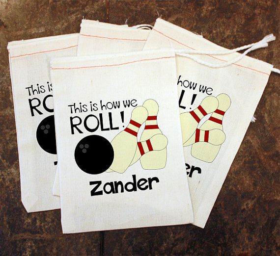 Bowling Favor Bags Kids Party Favors This Is How We Roll Muslin Toddler Custom Goo Goody Bag By Sendipitybags