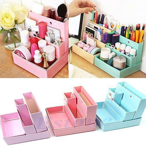Photo of Paper Board Storage Box  Desk Decor DIY Stationery Makeup Cosmetic Organizer 664238236343 | eBay