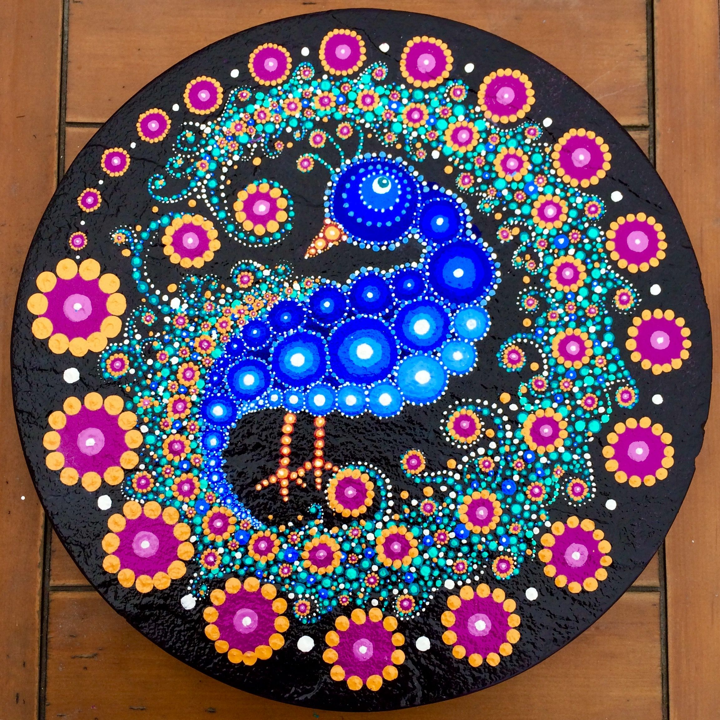 Painted Garden Stones: Peacock Painted Stepping Stone By Rebecca Blake