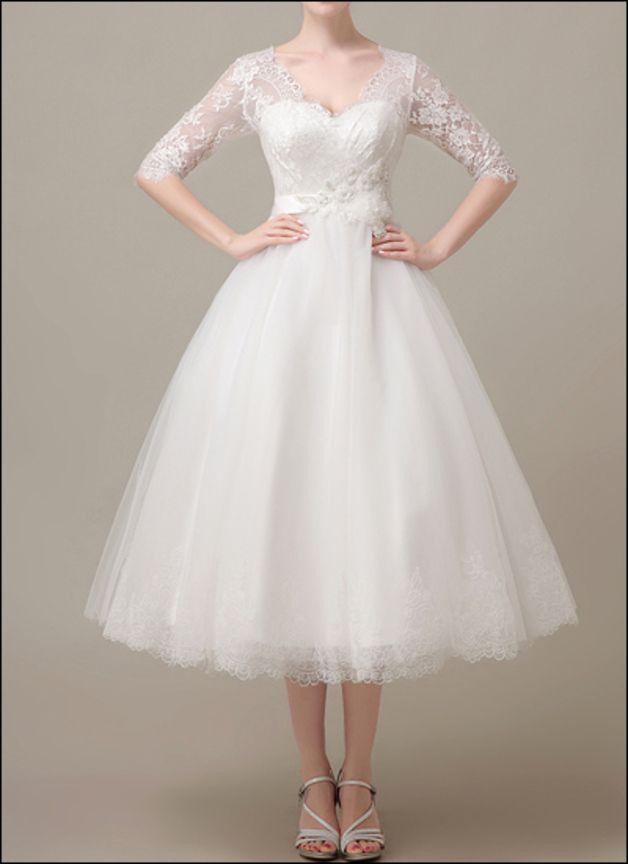 50er Jahre Vintage Brautkleid mit Spitzenärmeln | Wedding dress ...