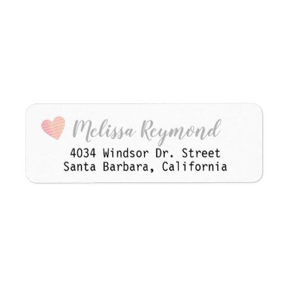 Handwritten font return address label with heart script templates