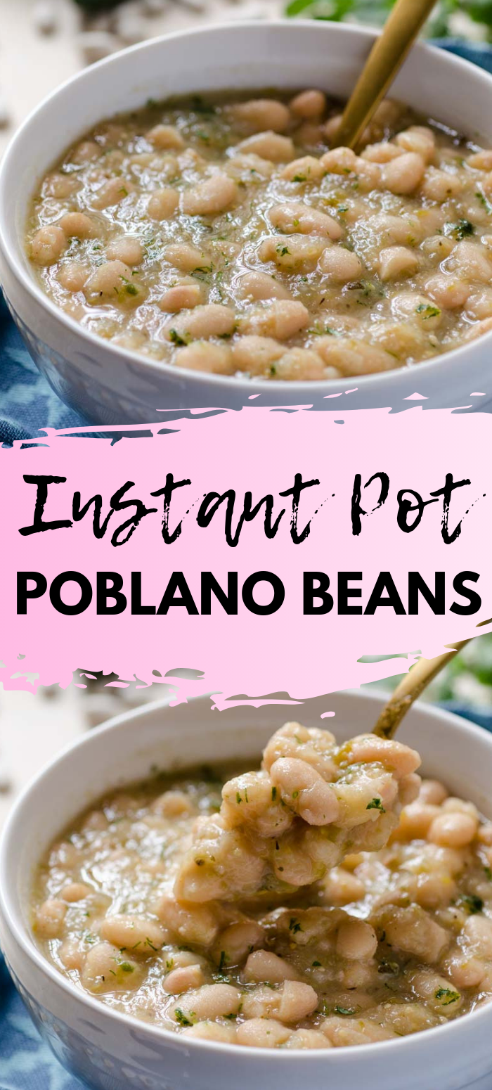 Great Northern Beans stewed in the Instant Pot with a tomatillo-poblano salsa verde. A healthy Mexican twist on white beans that just happens to be vegan too