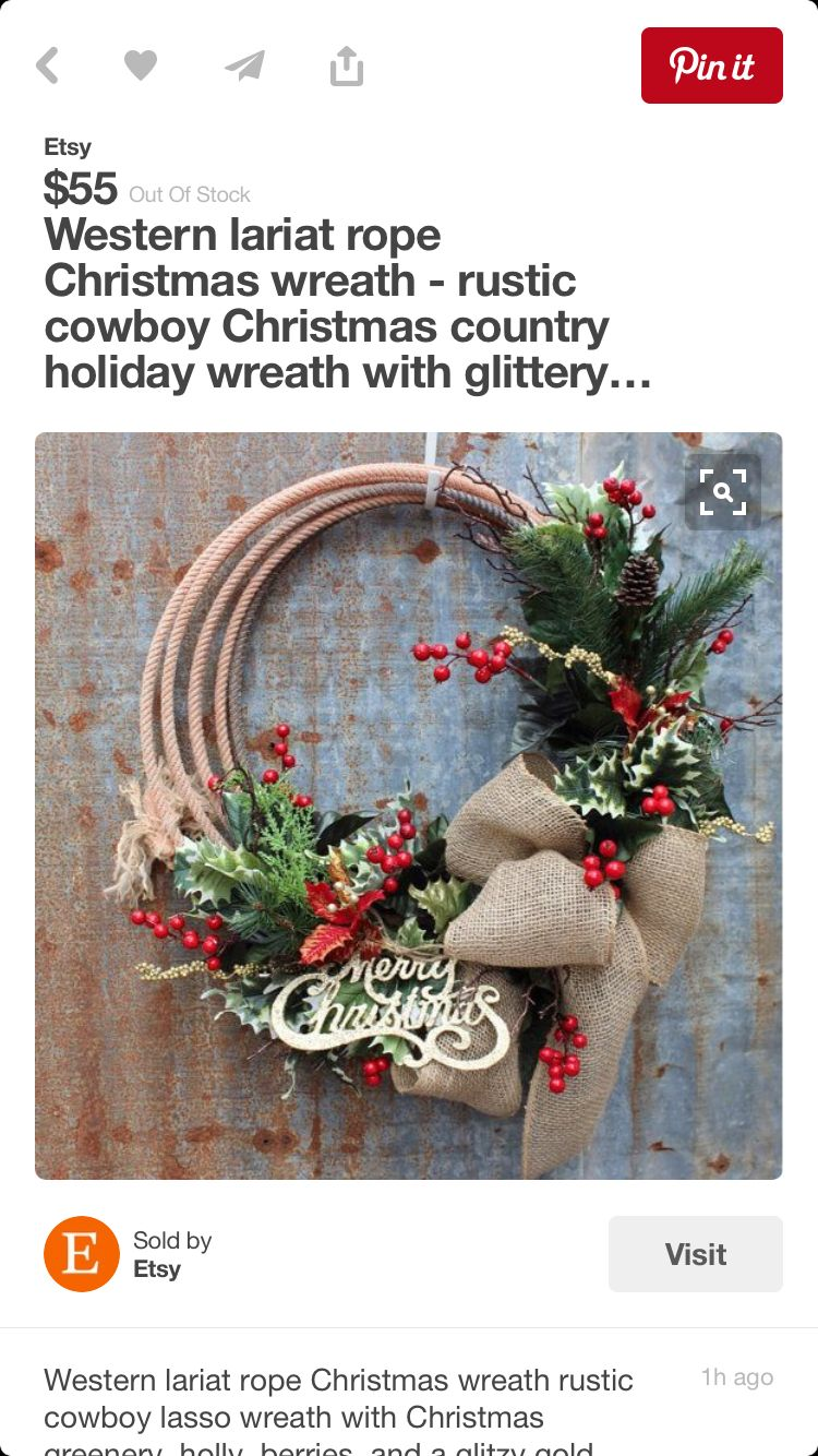 Western lariat rope Christmas wreath - rustic cowboy Christmas country holiday  wreath with glittery Merry Christmas sign, burlap bow, lasso