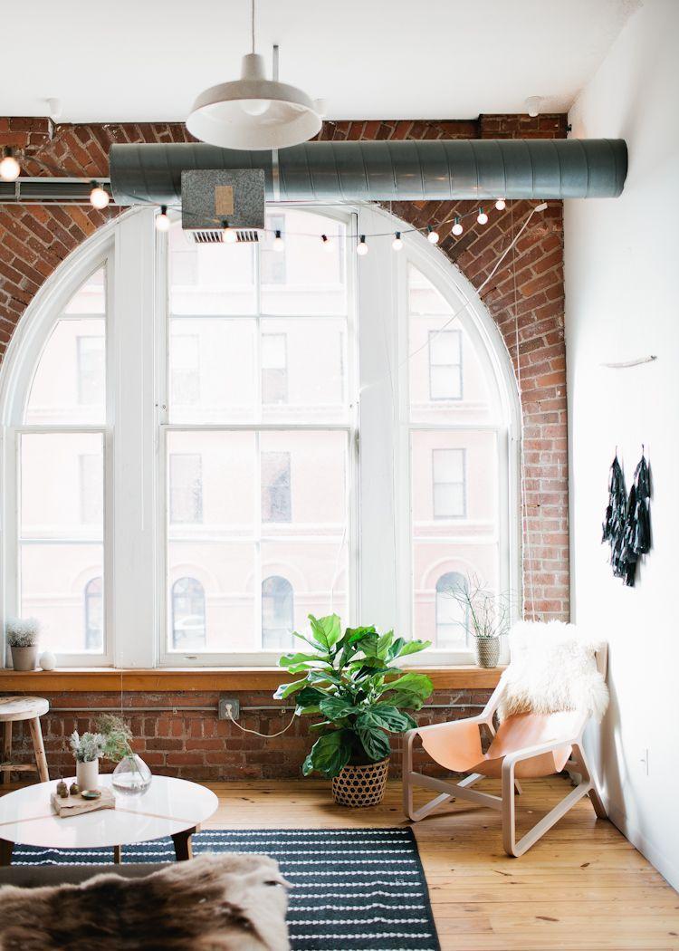 Loft bedroom privacy ideas  Beautiful Bare Windows  Industrial style Bricks and Lofts