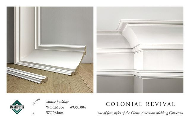 Colonial revival crown molding cornice buildup moldings for Colonial style trim