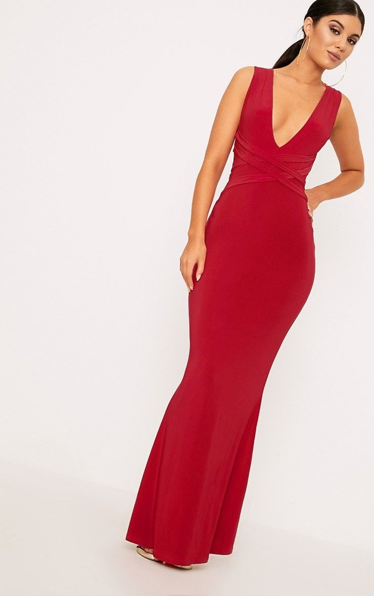 Red double wrap slinky maxi dressbe ready to slay in this killer
