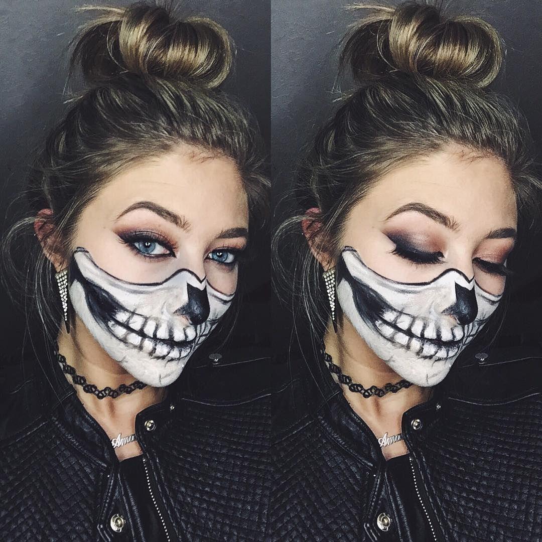Half-skull halloween makeup   Halloween Makeup Ideas ...