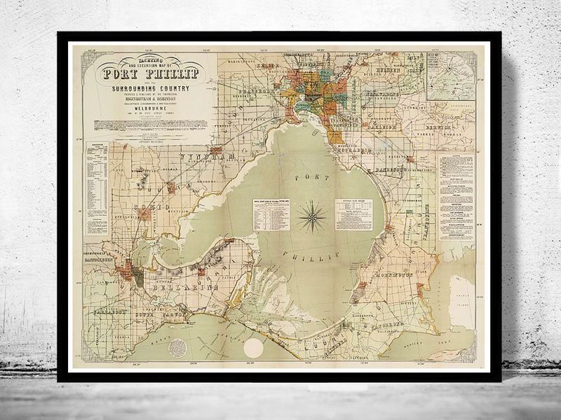 Vintage Map Of Port Phillip And Melbourne Bay Australia - Vintage maps melbourne