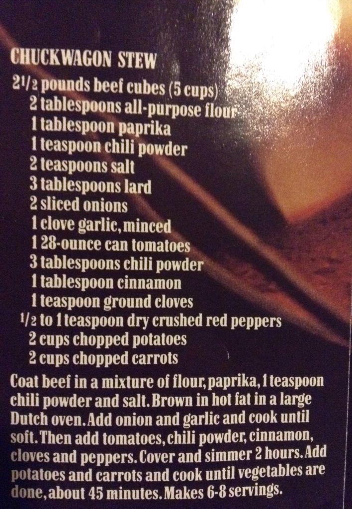Marlboro cookbook chuck wagon stew recipe