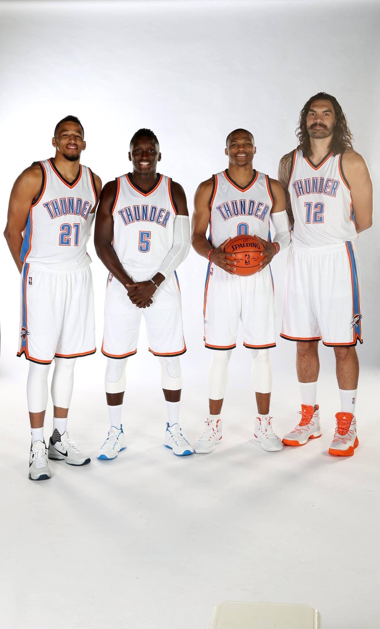 Andre Roberson Victor Olidipo Russell Westbrook Steven Adams Okc Thunder Basketball Okc Thunder Thunder Nba