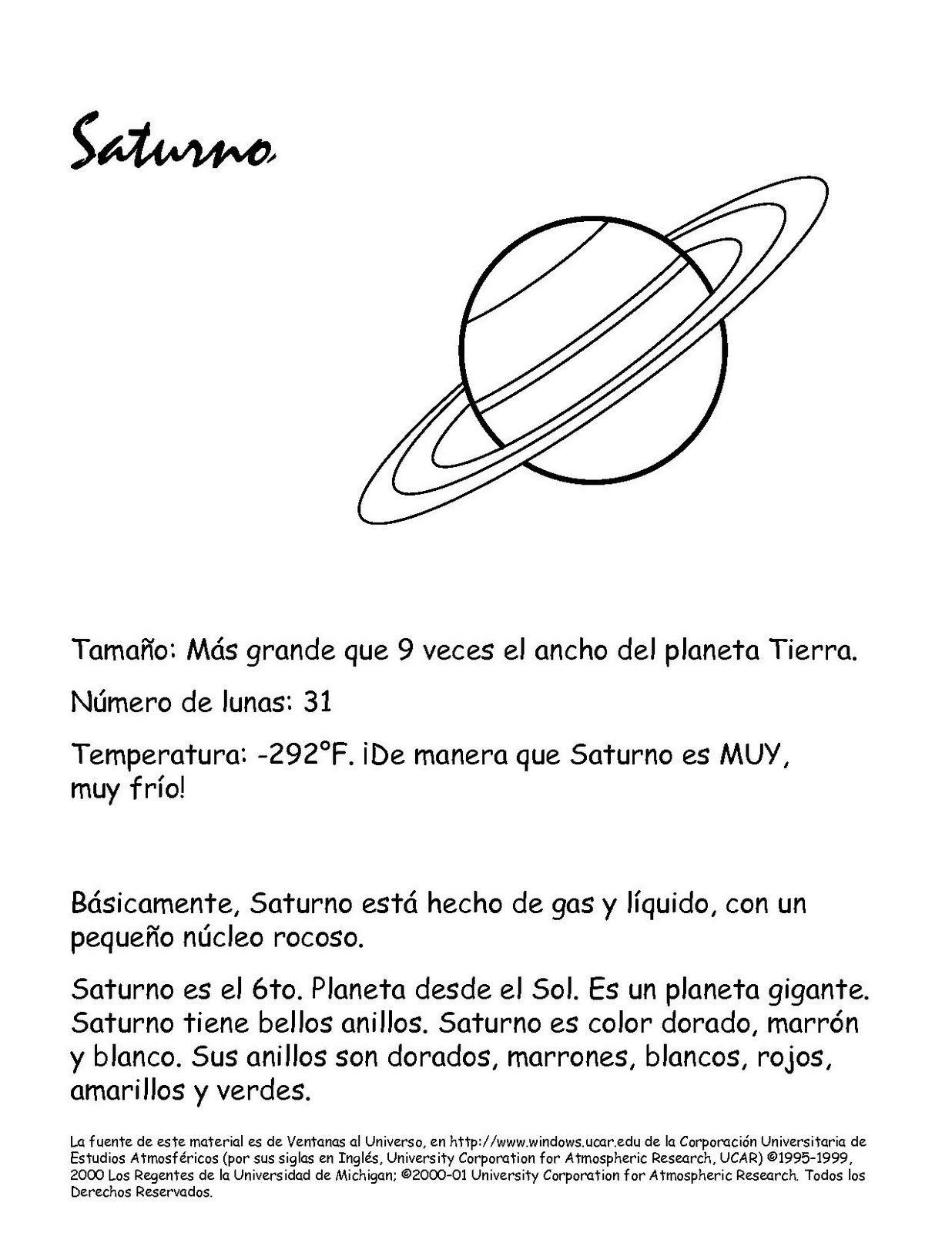 Colorear Planeta Saturno