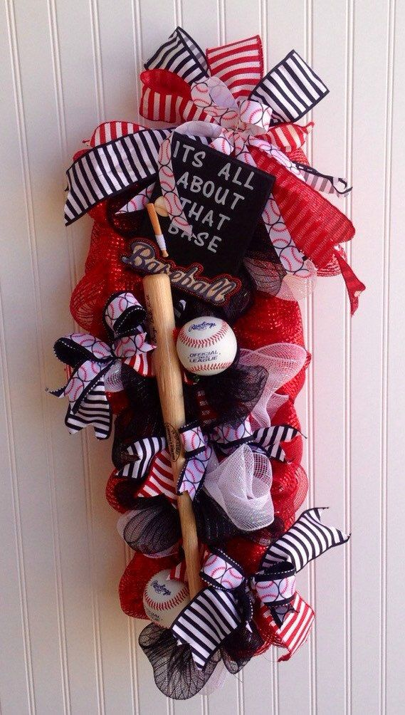Items similar to Baseball swag,Baseball wreath,Deco mesh baseball wreath ,its all about that base wreath,School baseball,wreath/swag,baseball and bat swag,ba on Etsy