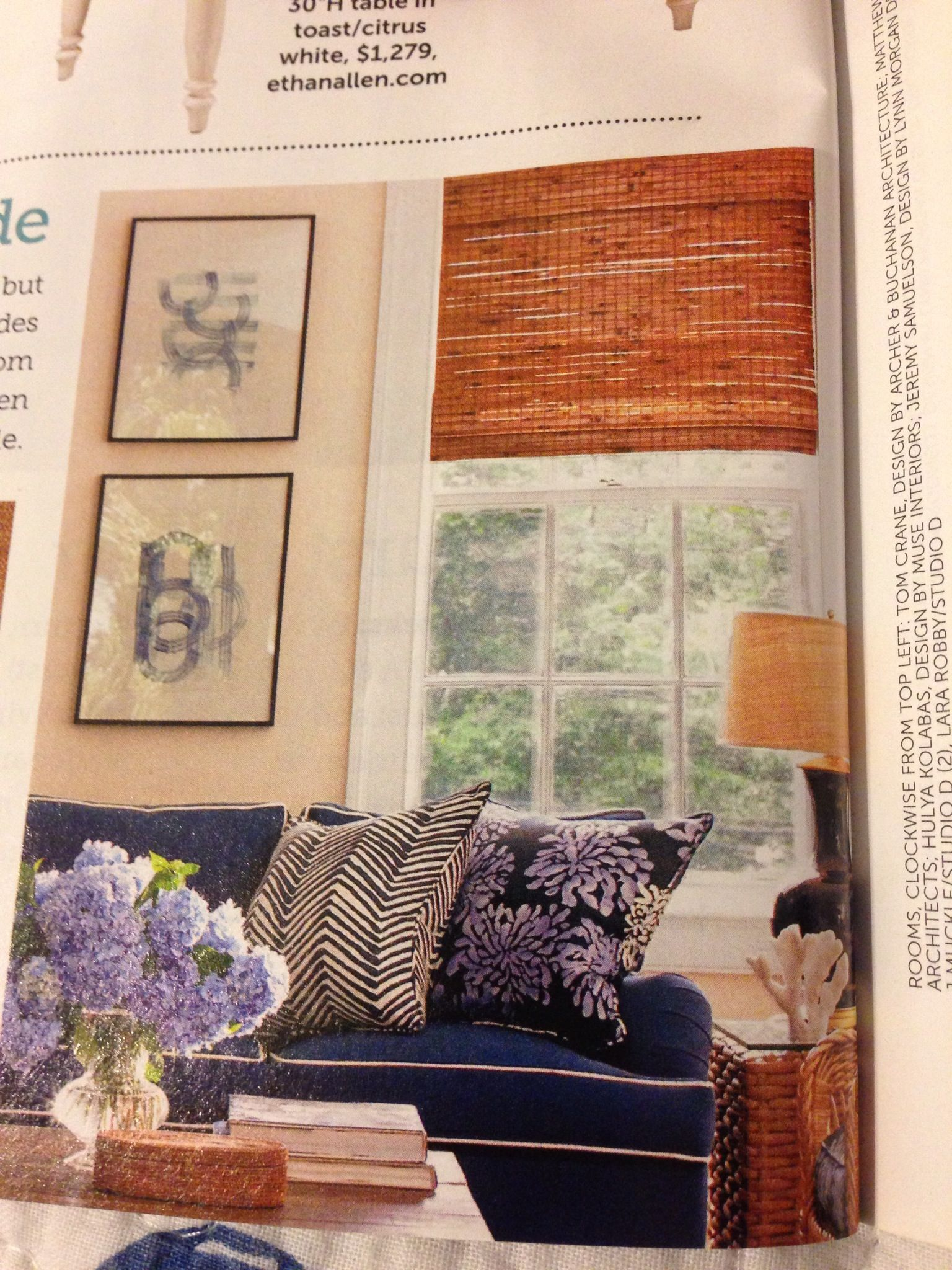 Blue couch bamboo shades for the home pinterest blue couches