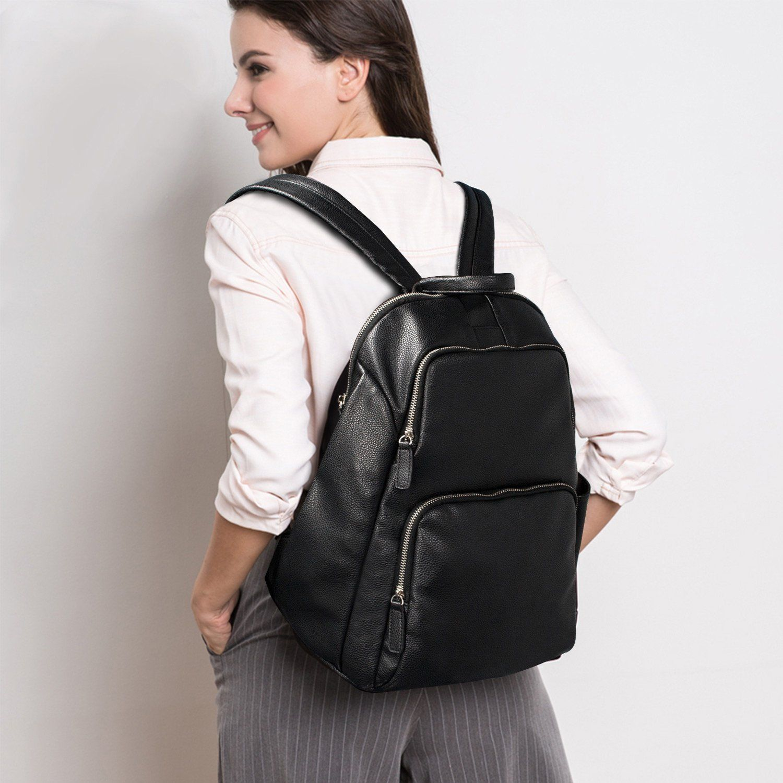 dbe3234eb676 Estarer Women PU Leather Small Backpack Girls Black Rucksack Travel School  Bag  Amazon.co