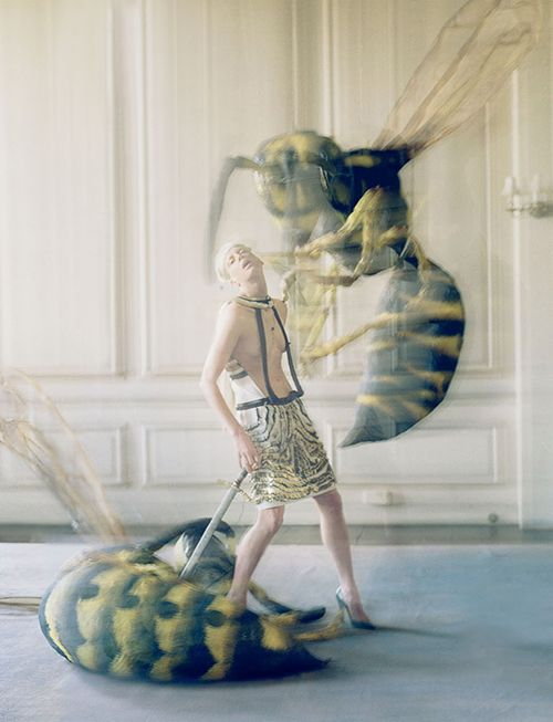 Love Spring Summer 2012 — The Origin Of Monsters, photographed by Tim Walker, styled by Katie Grand, featuring Kristen McMenamy. Wearing: Gold and black sequined dress, Gucci. Leather heels, Louis Vuitton.