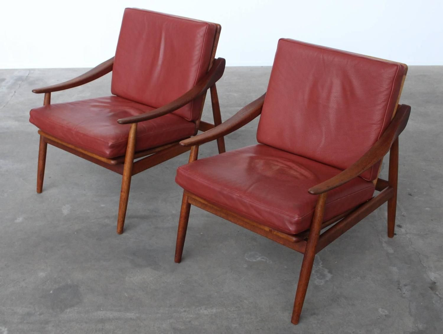 Pair Of Kurt Ostervig Leather U0026 Teak Lounge Chairs For Jason Møbler Denmark  1956 | From