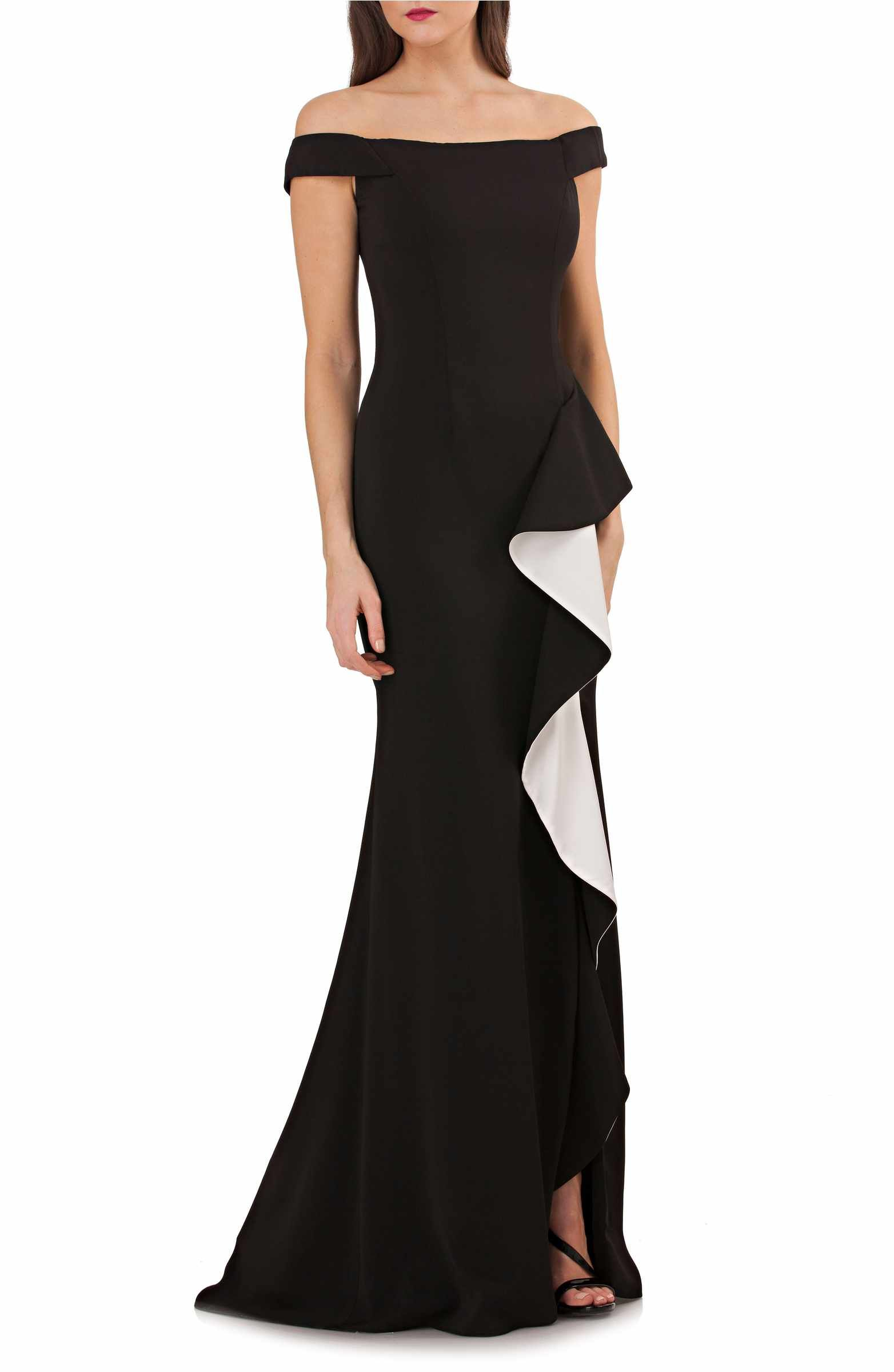 Main Image - Carmen Marc Valvo Infusion Ruffle Off the Shoulder Gown ...
