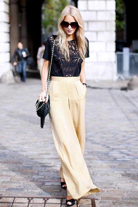 Try Wearing Wide Legged Trousers And A Fancy Blouse On Your Next Night Out Outfitideas Style