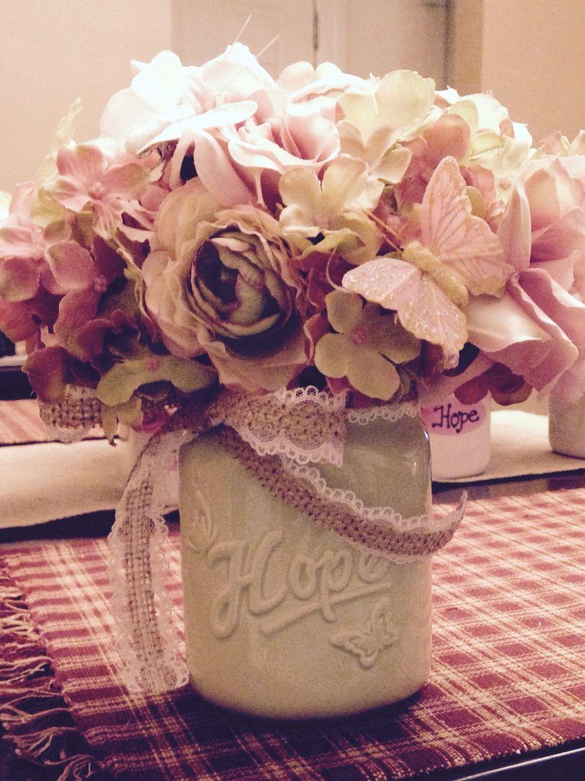 Faux flowers in ceramic mason jar Ceramic mason jar