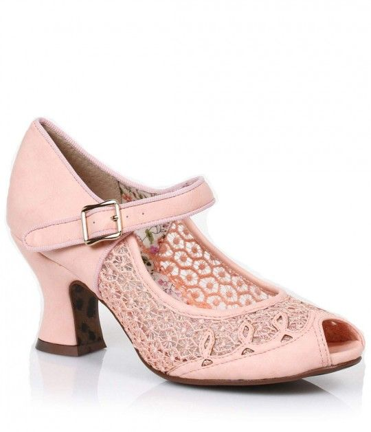 Prepare for Paise, dames! A Pin-up perfect pair of pink peep toe Mary Jane heels, the retro Paise pumps boast sheer lace side panels, matching top stitched design and a 2.5'' heel for lift. A thick, gored buckled strap is adjustable and secures comfortabl