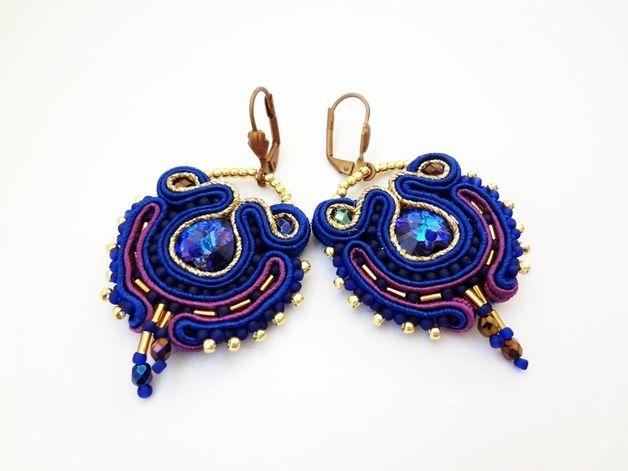 Great gift for soutache lovers. Chandelier Earrings – Blue soutache earrings with crystal Swarovski – a unique product by AnnaZukowska via en.DaWanda.com