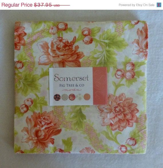 """2 DAY SALE - Cotton Fabric, Quilt, Craft,Floral, Layer Cake 10"""" squares,Somerset, Moda, Fast Shipping, LC104"""