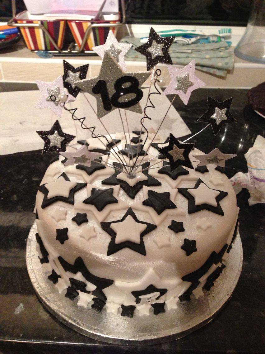 Boys 18th birthday cake. Black white and silver stars