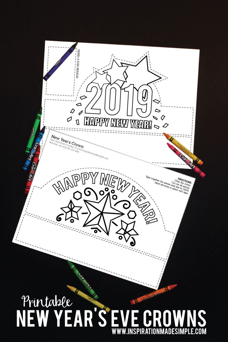 Download and print these new years eve crowns for the kids to color and ring in the new year in style