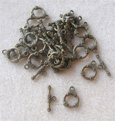 Toggle Clasp Antique Brass Ring and Bar Closure Findings Jewelry