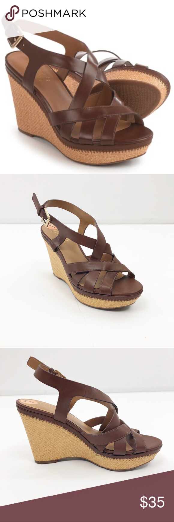 NWOB Franco Sarto Sashay Wedge Sandals Vegan leath NWOB Franco Sarto Sashay Wedge Sandals Size 7 - Vegan Leather  Do a little dance, girl; Franco Sarto's Sashay wedge sandal basically calls for it with its strappy, swooping upper, tall, platform silhouette and eye-catching basket-weave-texture wedge heel.  Soft faux-leather straps Buckle-adjustable ankle strap Open back Cushioned faux-leather footbed Platform and tall wedge heel with basket-weave texture Low-profile outsole Upper: Man-made mater #lowwedgesandals