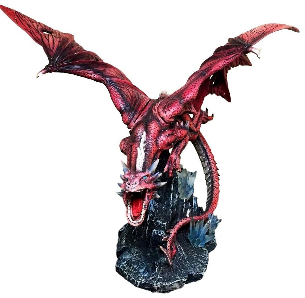 """Large 20.5"""" Long Fire Solar Burning Aro Dragon Flying In Attack Statue Sculpture offered by istatue on eBay"""