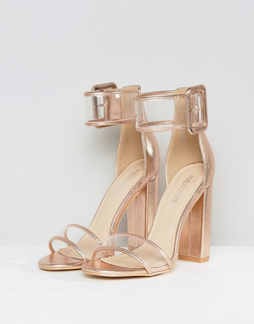 390c56dde2e Public Desire Mission Rose Gold Clear Strap Block Heeled Sandals - Gol