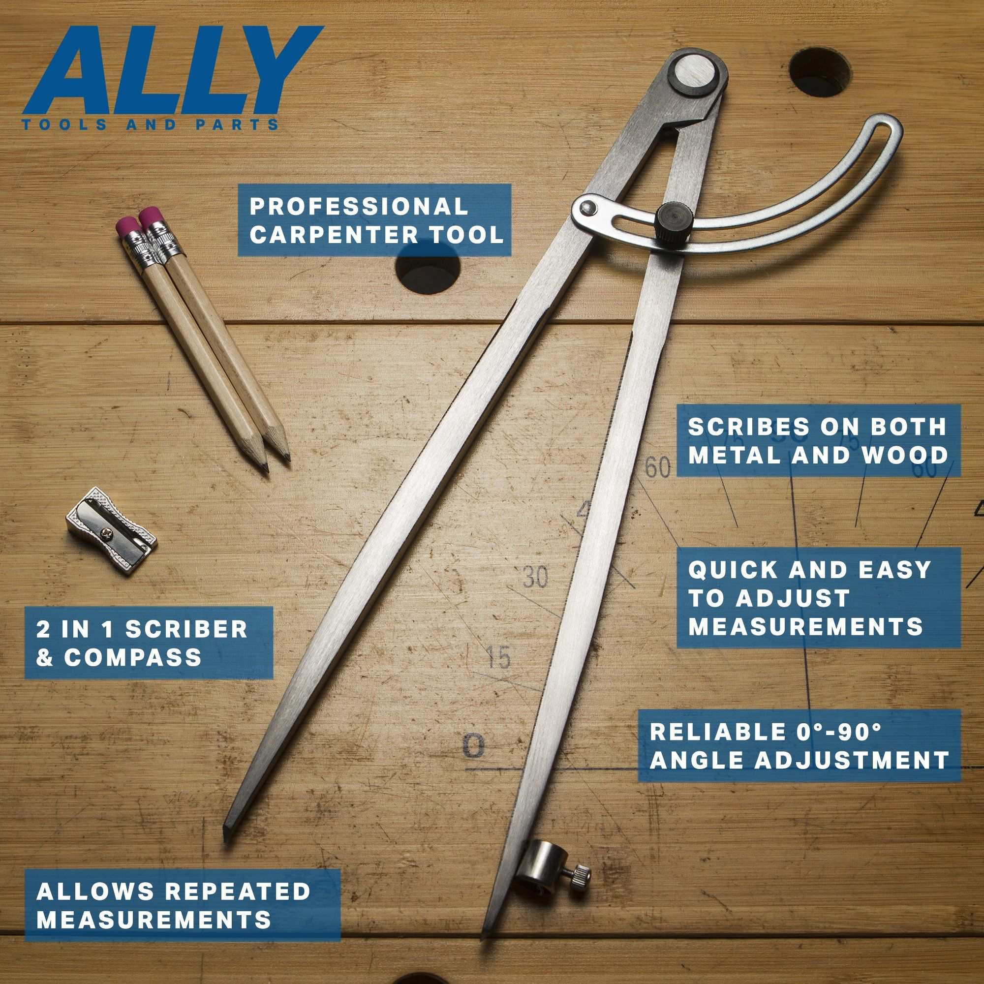ally tools 12 wing divider pencil holder / compass scribe