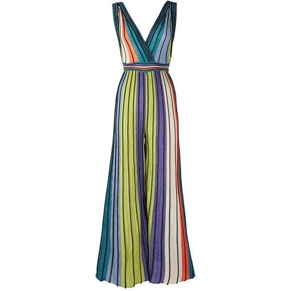 5bebc850cc71 M Missoni Lurex Stripe Plunging Neckline Jumpsuit ( 570) ❤ liked on  Polyvore featuring jumpsuits