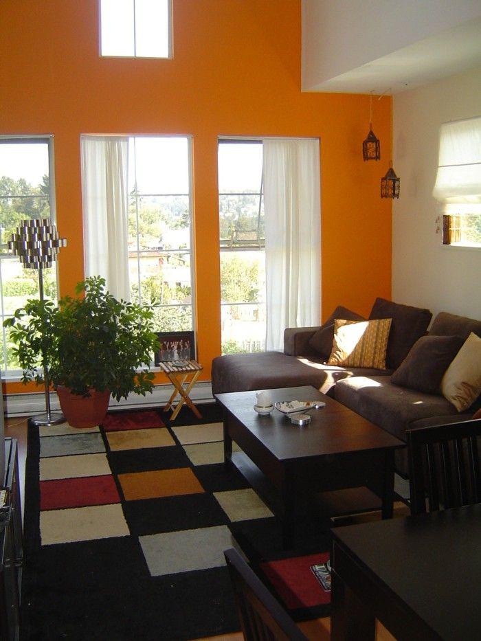 Wall Color Ideas Living Room Orange Walls Dark Carpet