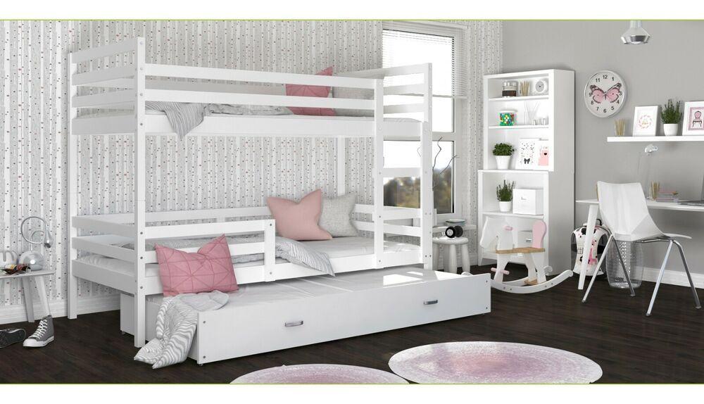 Etagenbett Hochbett JA 3 190x80 Farbe weiß mit einer ...