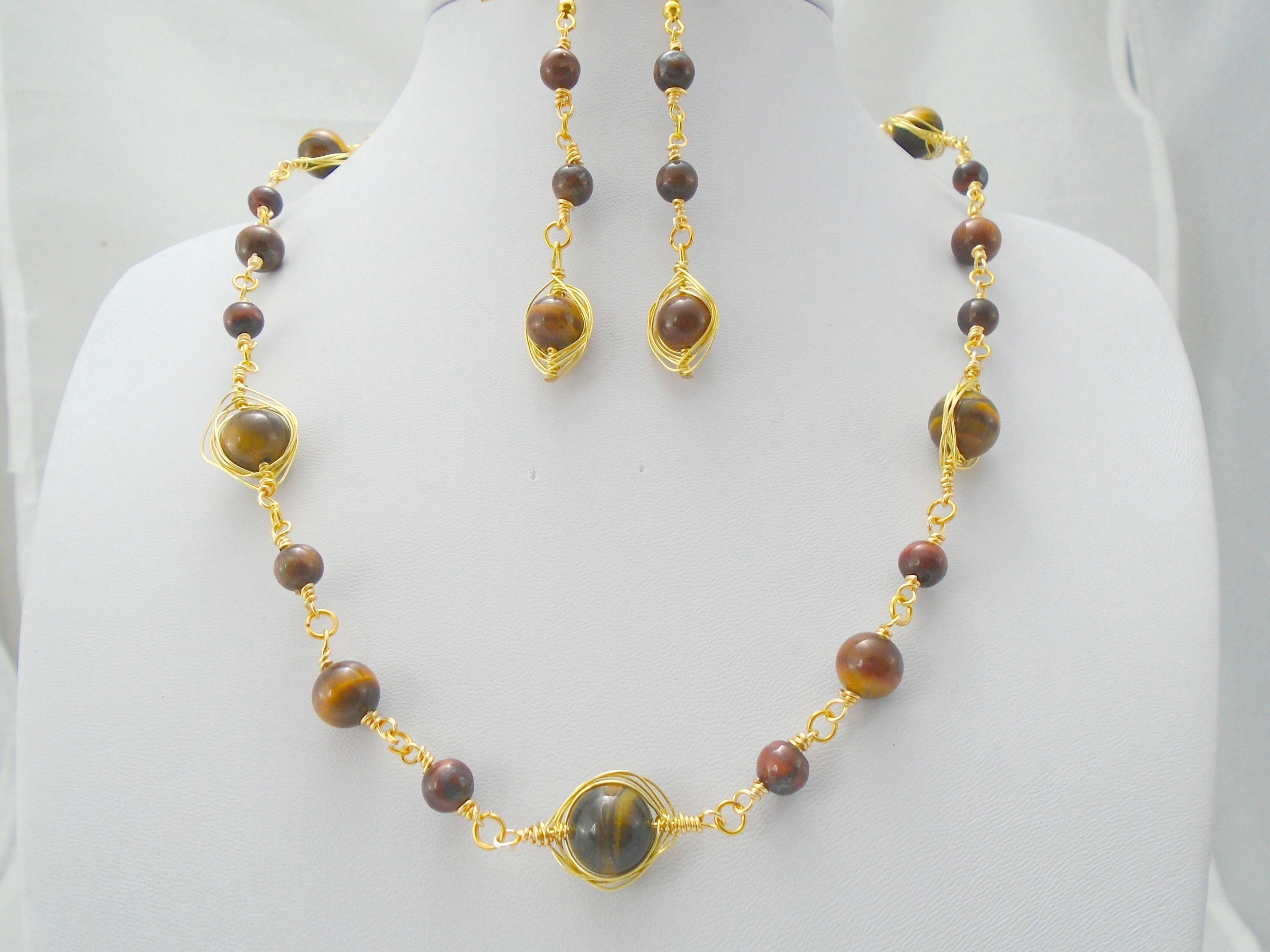 s tiger gold matte and brown necklace products onyx men mnebas eye with beaded