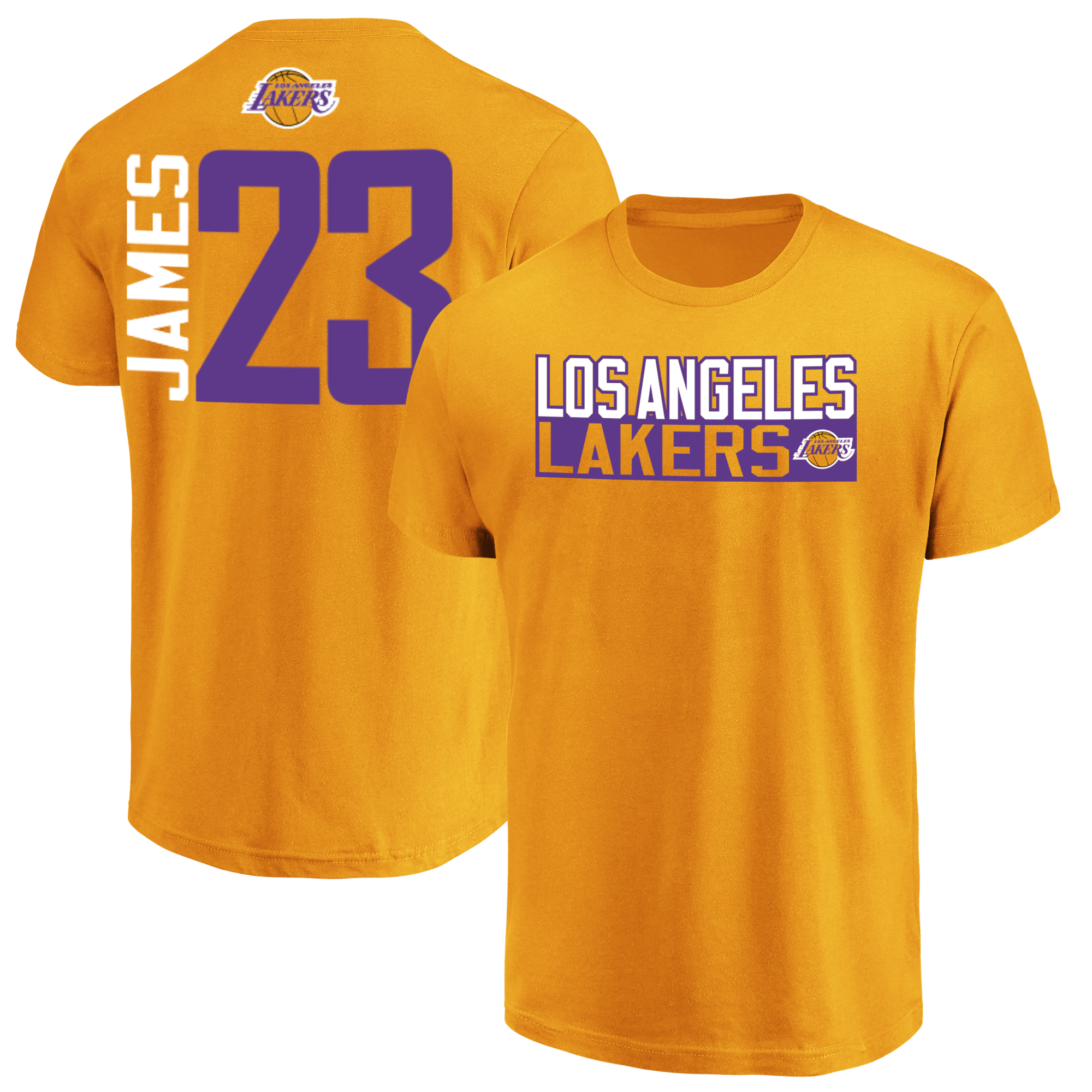 f360401bf44 LeBron James Los Angeles Lakers Majestic Men s Gold Vertical Name and  Number T-Shirt