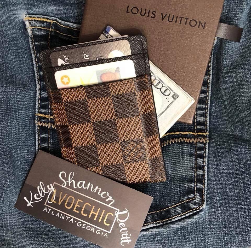 Damier ebene mens card holder with money clip 325 sold
